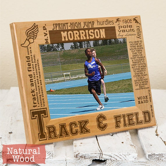 Personalized Track Field Picture Frame Wood Engraved Get Etsy