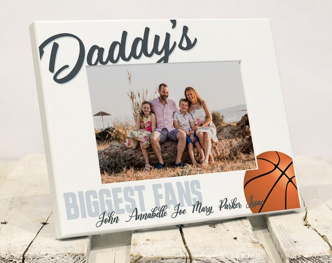 Featured listing image: Daddy Biggest Fans Personalized Fathers Day Frame, Dad Son Daughter Sports Picture Frame, Unique Daughter Son to Father Fathers Day Gift