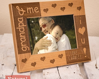 Grandpa & Me Personalized Picture Frame, Includes Grandson Granddaughter Name Gift Box Thoughtful Fathers Day Gift for Grandpa from New Baby