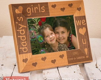 Dad Picture Frame Personalized From Daughters, Daddy's Girls, Includes Names, Gift Box, Unique Dad Fathers Day Gifts 2020