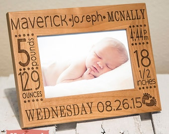 Personalized Birth Announcement Picture Frame | Newborn Baby Picture Frame | Gift for New Parents | Nursery Picture Frame | Newborn Gift
