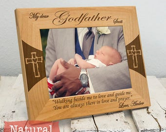 Personalized Godfather Picture Frame | Custom Gift for Godfather | Baptism Gift for Godfather | Christian Picture Frame | Gift for Godfather