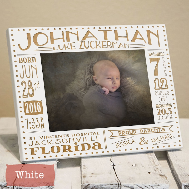 Personalized Birth Announcement Picture Frame  Newborn Baby image 0
