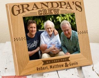 Grandpa's Crew Personalized Picture Frame, Includes Children Grandchildren Names, Gift Box - Fathers Day Grandpa Gift From Grandchildren