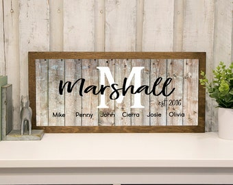 Family Farmhouse Sign   Personalized Family Name Established Sign   Sign with Names and Wedding Date   Farmhouse Decor Living Room   Rustic
