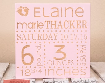 Personalized Wooden Sign for Newborn - Customized Birth Announcement Wall Art - Personalized Birth Stats Sign for Nursery - Baby Decor