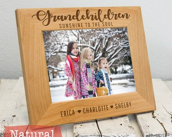 Personalized Grandchildren Picture Frame, Sunshine to the Soul, Includes Grandkids Names, Gift Box, Custom Mothers Day Fathers Day Gift 2020