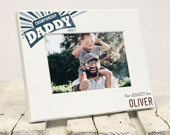 Championship Daddy Personalized Fathers Day Frame, Unique Daughter Son to Father Fathers Day Gift, Best Dad Gift, Solid Wood, Gift Box