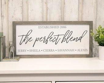 The Perfect Blend, Blended Family Sign, Framed Wood Sign, Wedding Gift