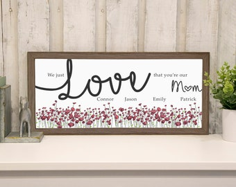 NEW RELEASE! Personalized Mothers Day Gift For Mom, Mother Children Farmhouse Sign, Mothers Day Gift From Kids, Solid Wood