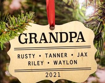 2021 Personalized Grandpa & Family Christmas Ornament, 3 Designs, Grandchildren, 2021 Christmas Ornament, Wood Ornament