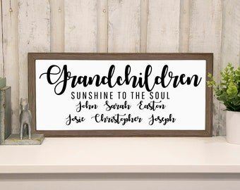 Framed Personalized Grandchildren Sign, Grandma Mothers Day Gift, 3 Designs, Wood Frame, Ready to Hang, Grandparents gift