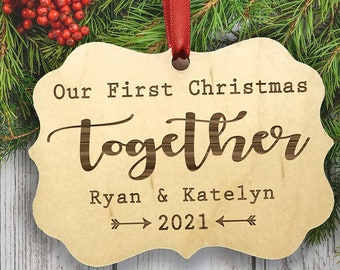 Our First Christmas Ornament - 2021 First Christmas Together - Couples Personalized Wooden Christmas Ornament - Stocking Gift