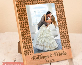Personalized Wedding Picture Frame - Custom Anniversary Gift - Wood Engraved Wedding Gift - Personalized Picture Frame for Newlyweds