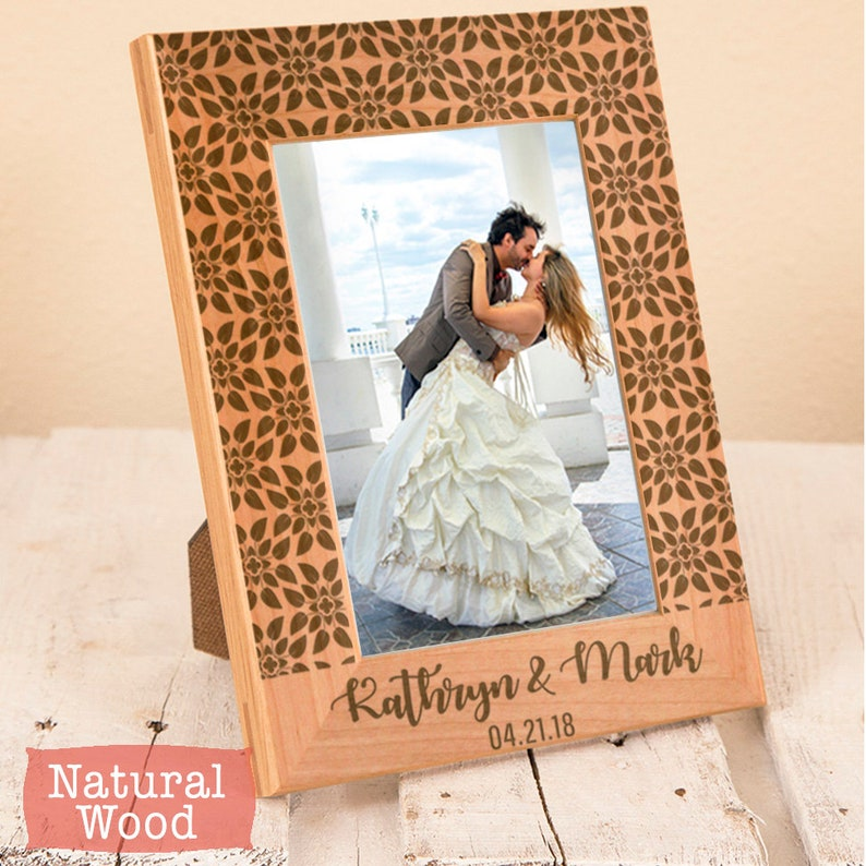 Engraved Picture Frame For Wedding Gift Personalized Picture Frame Newlywed Photo Frame Engraved Wood Frame Real Wood Frame Wood Anniversary
