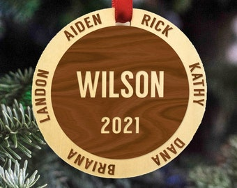 Family Christmas Ornament 2021 - Personalized Ornament for Family of 6 - Personalized Ornaments for Family - Xmas Ornaments Family Name