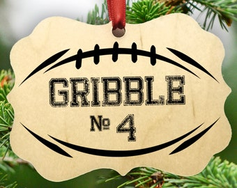 Personalized Football Christmas Ornament, Player, Team, Coaches, Wood, Hanging Ribbon Included