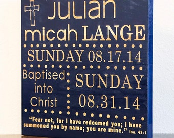 Personalized Baptism Gift + Birth Announcement Wall Hanging - Baby Name Art-Baby Gift-Wood Engraved-Your Choice of Color