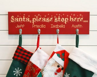 Personalized Christmas Stocking Holder | Unique Christmas Sign for Family | Up to 6 Names