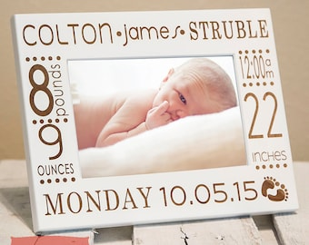 Birth Announcement Frame | Personalized Baby Picture Frame | New Parents Picture Frame | Nursery Picture Frame | Gift for New Parents - Baby