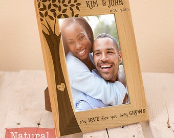 Personalized Valentines-Wedding-Anniversary-Picture Frame-Wood Engraved-Wedding Gift-Wedding Memento-Gift for the Couple