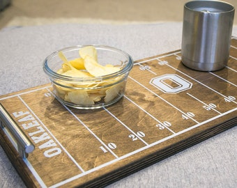 Personalized Football Serving Tray   Football Field Serving Tray with Handles   Football Season Decor   Rustic Football Party Serving Tray