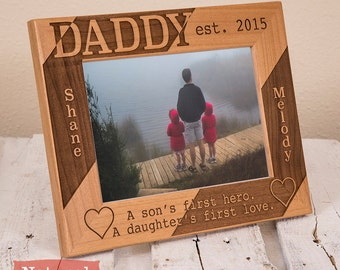 Personalized Daddy Picture Frame from Kids, Includes Children Names, Gift Box, Dad Fathers Day Gift From Son and Daughter