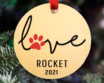 Personalized Dog Christmas Ornament, 2021 Pet Christmas Ornament, Cat Christmas Ornament, Unique, Wood, Hanging Ribbon Included