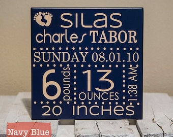 Personalized Birth Announcement Sign with Statistics | Customized Wooden Birth Stat Sign | Personalized Sign for Nursery | Sign for Newborn
