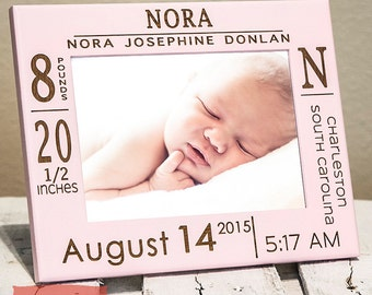 Personalized Birth Announcement Picture Frame with Stats | Newborn Picture Frame | Picture Frame for Nursery | Gift for New Parents | Baby