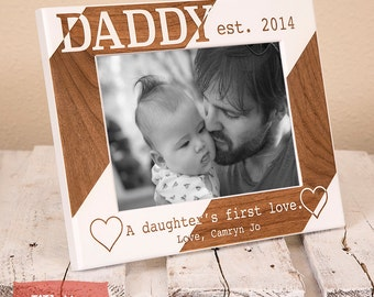 Personalized Dad Picture Frame from Daughter, Includes Names, Established Year, Gift Box, Thoughtful Fathers Day Gift for Daddy From Girl