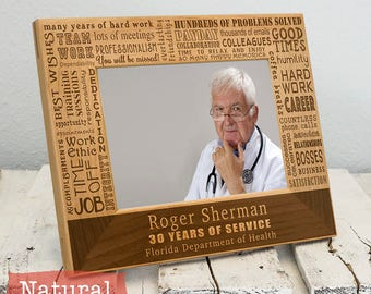 Retirement Picture Frame Collage - Gift for Retirement Party - Present for Retiree - Corporate Gift - Workplace Gifts - Engraved Wood Frame