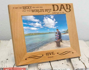 Personalized Worlds Best Dad Picture Frame, Includes Son Daughter Name, Gift Box, Thoughtful Fathers Day Gifts For Father From Children