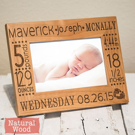 Personalized Baby Picture Frame Birth Announcement Frame Etsy