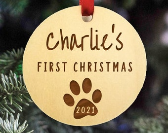 2021 Pet Christmas Ornament - Puppy First Christmas Ornament - Dog and Cat - Rustic Ornament - Christmas Ornament - Pet First Christmas