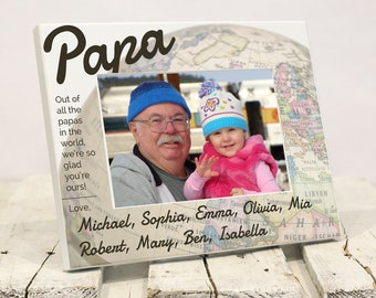 Worlds Best Grandpa Personalized Picture Frame, Fathers Day Gift with Grandkids Names, Fathers Day Present to Papa From Grandchildren