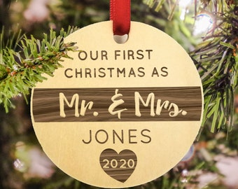 First Christmas Couples Ornament, Married Ornament, Newlyweds 2021, Stocking Stuffer Husband Wife, Hanging Ribbon Included