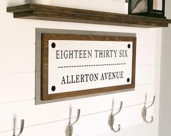 Rustic Address Farmhouse Sign - Fast Shipping - Hand Painted - Rustic Farmhouse Decor