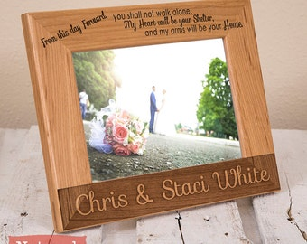 Personalized Wedding Picture Frame - Wood Engraved Wedding Gift - Wedding Memento - Gift for Newlyweds - Picture Frame for Married Couple