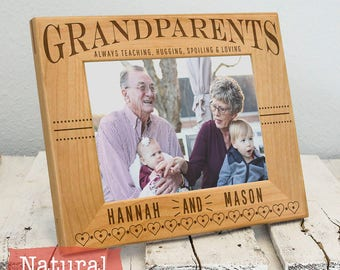 Personalized Picture Frame for Grandparents, Includes Grandchildren Names, Gift Box, Custom Mothers Day Fathers Day Gift from Grandkids 2020