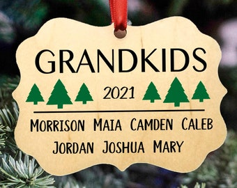 Personalized Grandparents & Family Christmas Ornament, 3 Designs, Grandchildren, 2021 Christmas Ornament, Wood Ornament