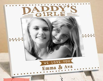 Personalized Daddy's Girls Picture Frame, Fathers Day Gift for Dad from Daughters, Quick Shipping, Gift Box, Christmas Present For Him