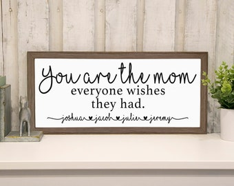 Personalized Mom Sign, Includes Children, Mothers Day Gift for Mommy, Farmhouse Wood Frame, Ready to Hang