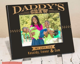 Personalized Daddys Crew Picture Frame, Includes Children Names, Gift Box, Best Fathers Day Gift for Dad from Kids