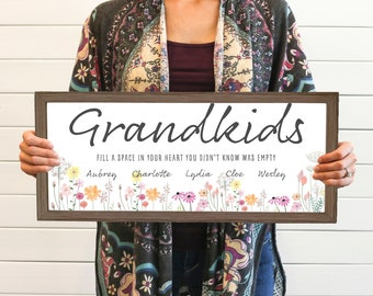 NEW RELEASE! Personalized Grandma Mothers Day Gift, Grandparents Grandchildren Farmhouse Sign, Grandmother Gift From GrandKids, Solid Wood
