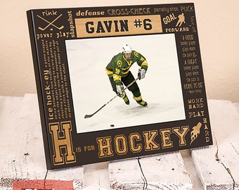 Hockey Picture Frame - Hockey Gift - Personalized Picture Frame for Hockey Player - Sports Gifts - Hockey Team Gift - Athlete Gift - Wood