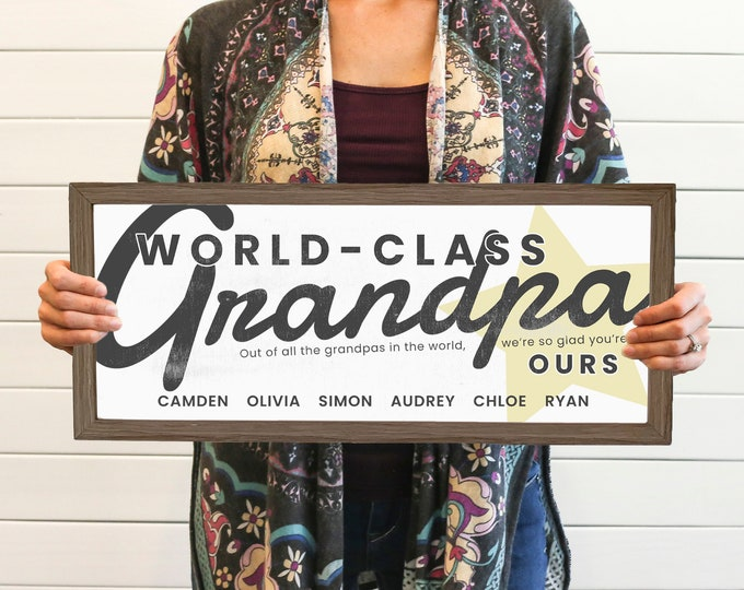 Featured listing image: World Class Grandpa Personalized Fathers Day Sign With Grandkids Names, Unique Thoughtful Grandfather Fathers Day Gift 2021, Best Fathers