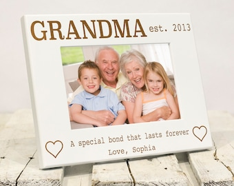 Personalized Grandma Photo Frame, Includes Grandson Granddaughter Names, Gift Box, Mothers Day Present For Grandmother from Grandchildren