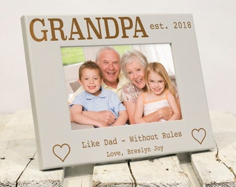Personalized Grandpa Picture Frame, Like Dad Without Rules, Includes Grandson, Granddaughter Names, Gift Box, Fathers Day Gift for Grandpa