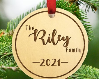 Personalized Family Christmas Ornament - Personalized 2021 Family Name Ornament - Wood Christmas Ornament - 2021 Family Ornament